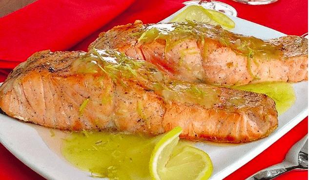 salmão ao molho de limão