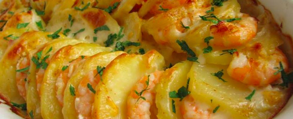 batatas gratinas com camarão