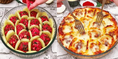 almôndegas de forno com batatas ao molho branco