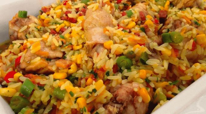 arroz com frango na pressão