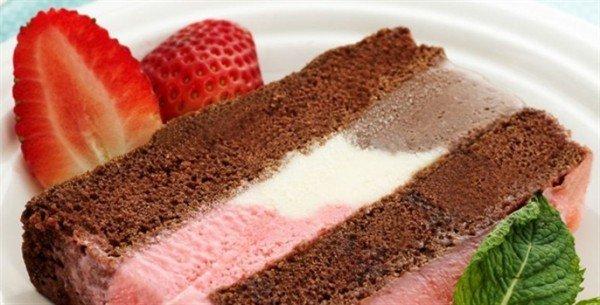 Esse bolo com recheio de sorvete é maravilho e uma super receita para fazer para a família toda nos dias de calor.