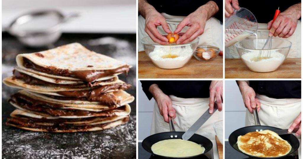 Então a receita de hoje é esse Delicioso Crepe Frances, é um tipo de panqueca em que a massa é feita com farinha de trigo, leite e ovos. Tem origem francesa, tanto que por lá, principalmente em Paris,