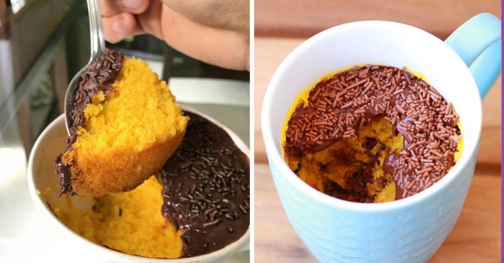 Então a receita de hoje é desse INCRÍVEL BOLO DE CENOURA DE CANECA, agora você não tem mais desculpa para não fazer bolo para você e sua família.