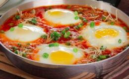 Ovos cozidos ao molho de tomate